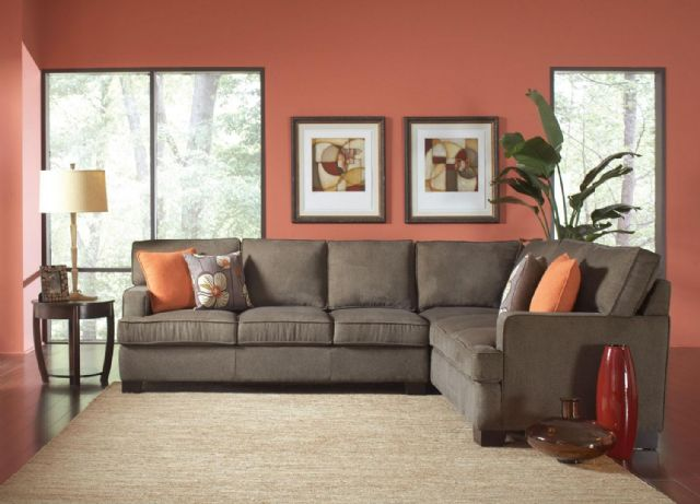 ALVAH OLIVE BROWN HERRINGBONE SECTIONAL 503435