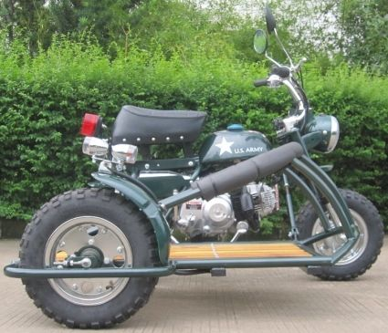 110cc 4 Stroke Retro Motor Bike with Cargo Sidecar