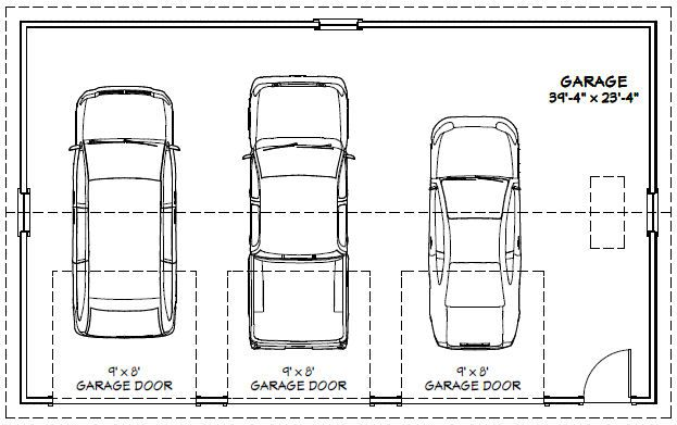 40x24 3-car garage - 960 sq ft