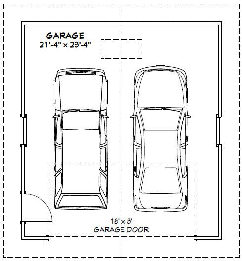 22x24 2 car garage 528 sq ft pdf floor plan atlanta for Sq ft of 2 car garage
