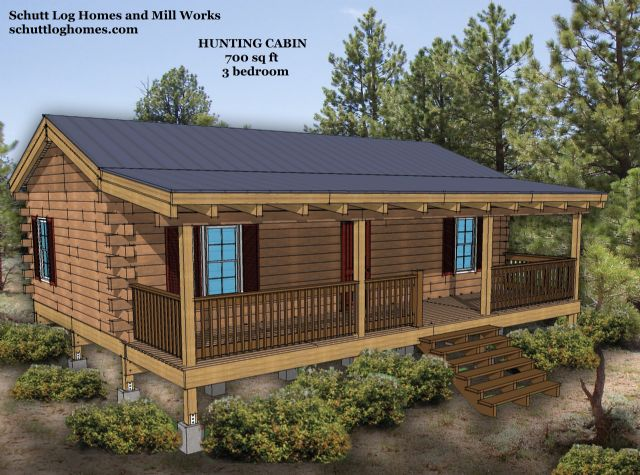 3 Bed Hunting Log Cabin Kit