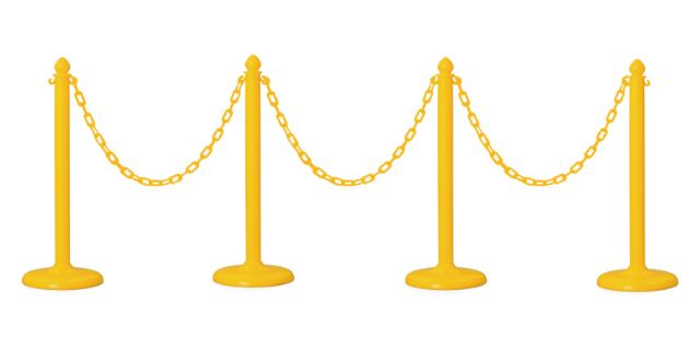4 PCS C-HOOK PLASTIC STANCHION + 32' CHAIN (YELLOW