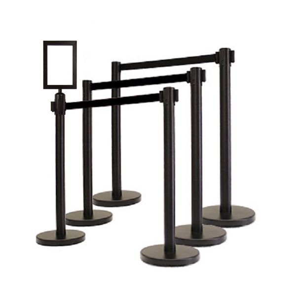 RETRACTABLE BELT STANCHION, 6 Posts + VIP Sign Fra