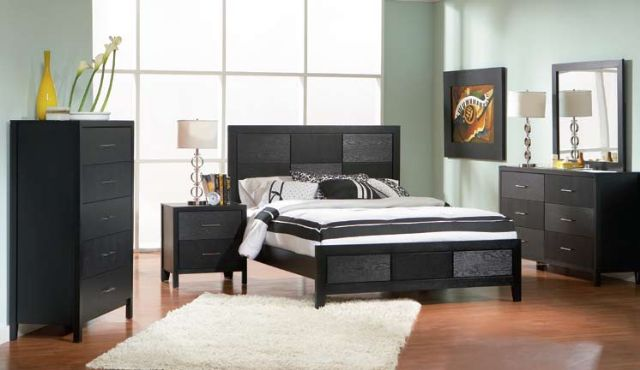 4 Piece Grove Collection Black Bedroom Set 300370