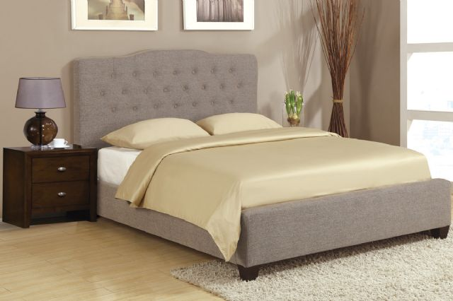 Queen Slate Faux Linen Bed F9263 by Poundex