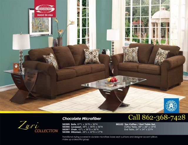 Zuri Collection Chocolate Microfiber Sofa 50395