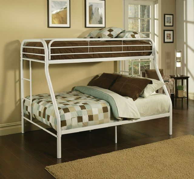Tritan White Finish Twin/Full Bunk Bed Acme 02053W