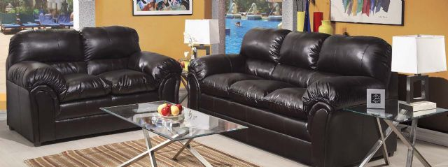 New Simmons Black Leather Sofa & Loveseat