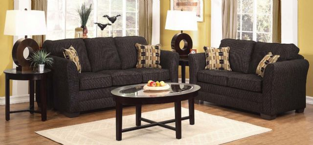 Simmons Sofa & Loveseat Charcoal Fabric