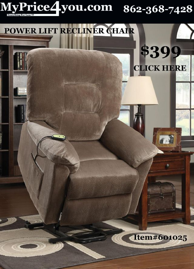 CHOCOLATE FABRIC POWER LIFT RECLINER CHAIR 601026