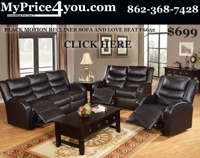 BLACK LEATHER MOTION RECLINER SOFA&LOVE SEAT F6678