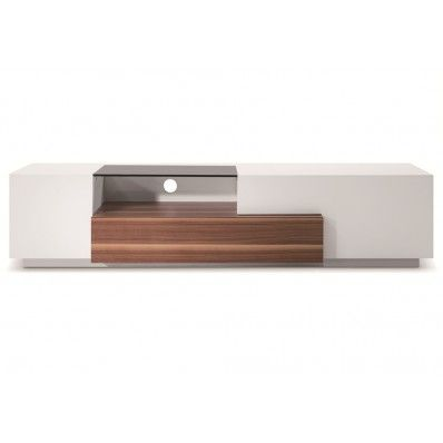 J&M MODERN TV015 IN WHITE LACQUER / WALNUT