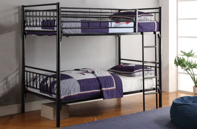 BLACK METAL FULL OVER FULL BUNK BED 7006BK PJ WARE