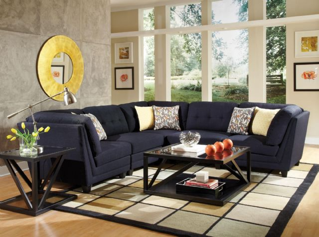 KEATON MIDNIGHT BLUE LINEN SECTIONAL 503451-503452