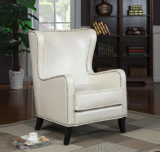 ACCENT CHAIR CROCODILE WHITE LEATHER LIKE 900192
