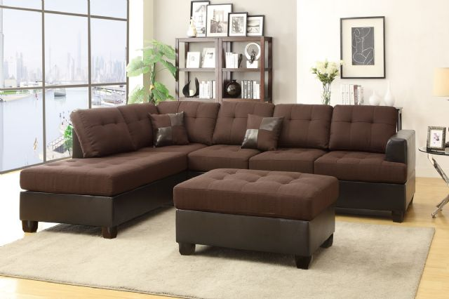 CHOCOLATE LINEN REVERSIBLE SECTIONAL SOFA F7602
