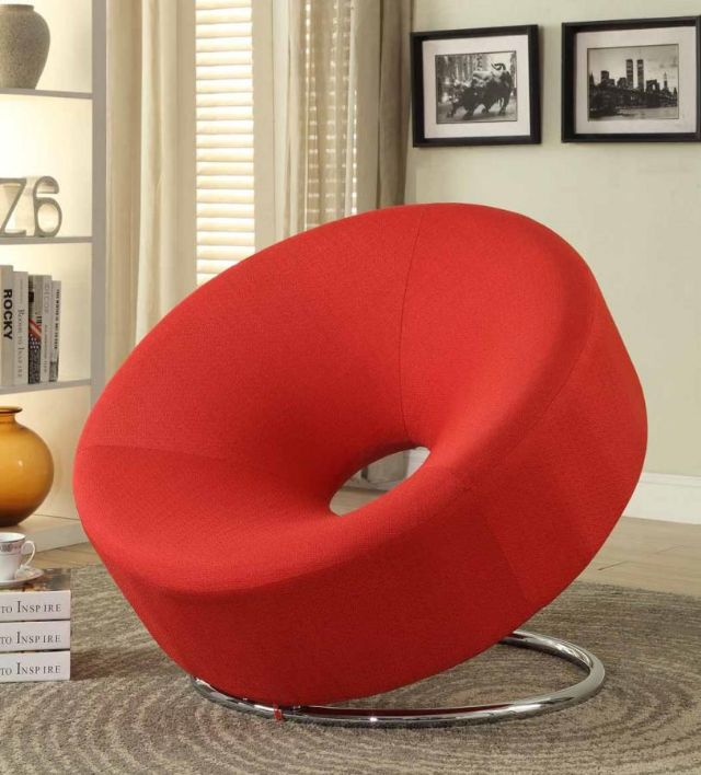 RED DONUT SHAPED ACCENT CHAIR 902252 COASTER