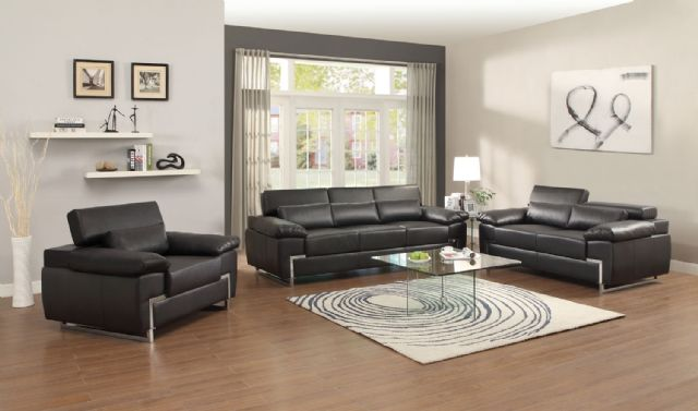 KIRA COLLECTION BLACK LEATHER SOFA 9647BLK-3