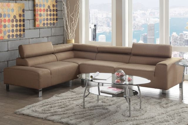 TAN BLENDED LINEN SECTIONAL F7288 BY POUNDEX