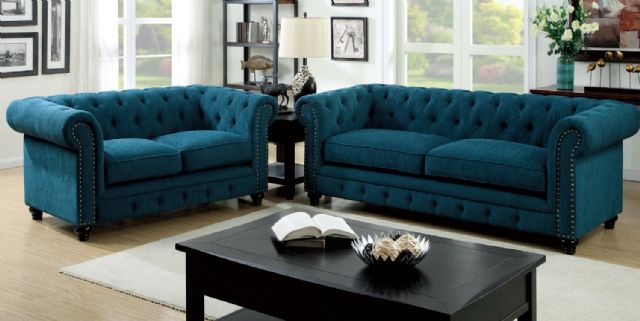 STANFORD DARK TEAL FABRIC SOFA CM6269TL-SF