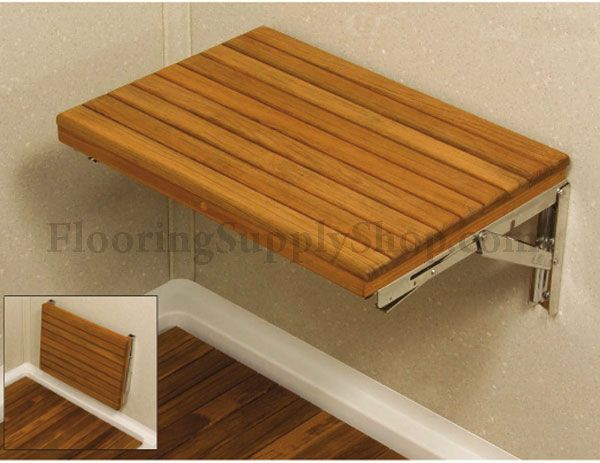 Teak Wood Wall Mount Fold-Down Bench