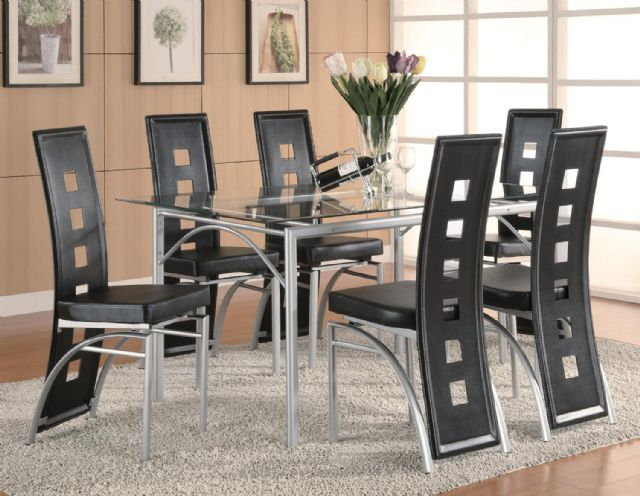 Los Feliz Contemporary Metal Dining Table set