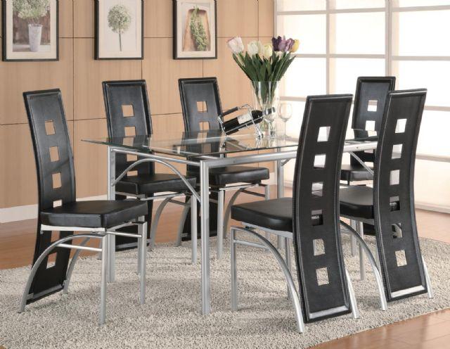 Los Feliz Contemporary Metal Dining Table set