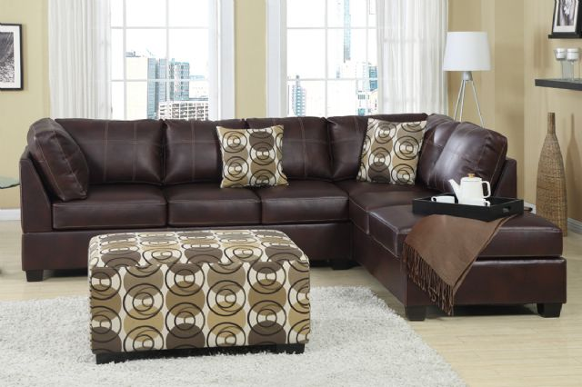BOBKONA Dark Mahogany Leather Sectional F7461