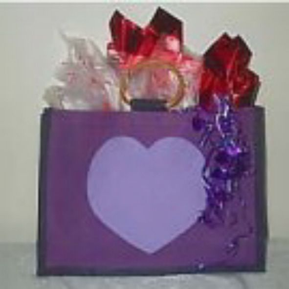 Jute Pretty Purple Spa HEART Tote Bag