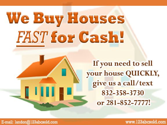 We Buy Houses FAST for Cash!  We have funds ready
