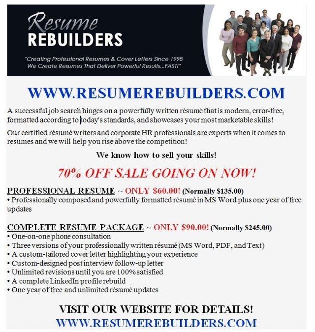 NOW 70% OFF ~ Professional Resume Writing Services  Resume Writing Services