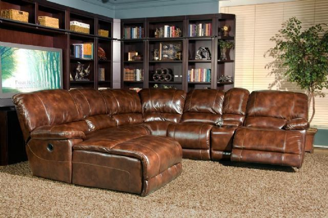 Attirant LEATHER THOMASVILLE SECTIONAL (ELECTRIC) IN MOTION