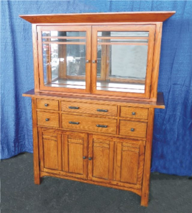 SOLID OAK CHINA CABINET WITH CUSTOM LIGHTING