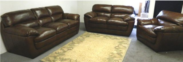THOMASVILLE LEATHER SOFA CHAIR & LOVE SEAT