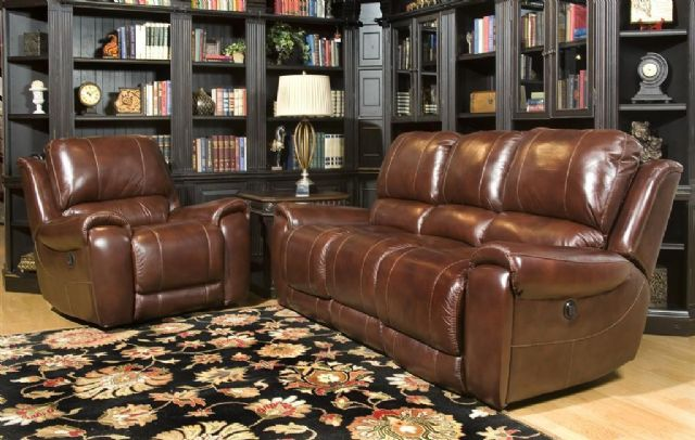 LEATHER SOFA & CHAIR W/ ELECTRIC IN-MOTION RECLINE