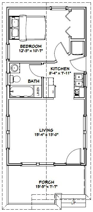 16x32 1 bedroom tiny house 511 sq ft pdf plan for 16x32 house plans