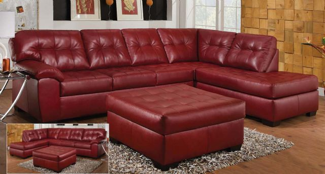 New Simmons Dark Red Leather Sectional Sofa