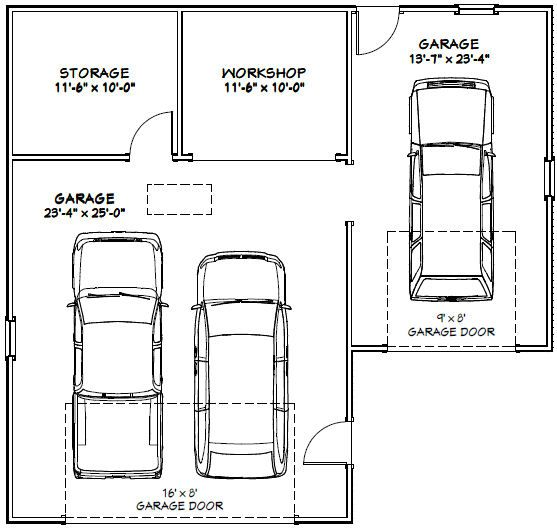 38x36 3-car garage - 1 200 sqft