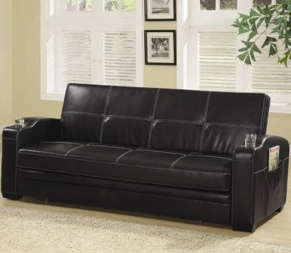 Leather Sofa Bed with Storage and Cup Holders