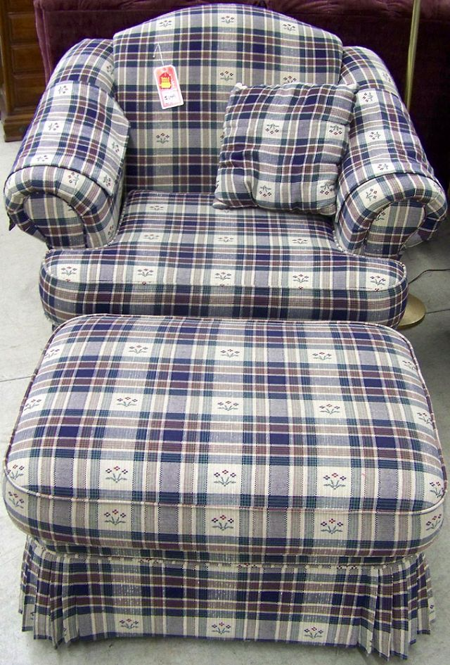 Symbol Mattress Company Pair of Schweiger Sitting Chairs and Ottoman in Chesterville IL ...