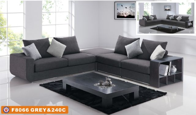 Faux Linen Gray Sectional F8066 by American Eagle