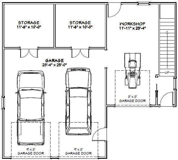 40x36 2 car garage pdf floorplan 2 110 sq ft for 40x36 garage
