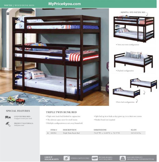 TRIPLE TWIN BUNK BED CAPPUCCINO 400302 BY COASTER