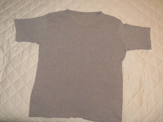 Man's gray V neck shirt