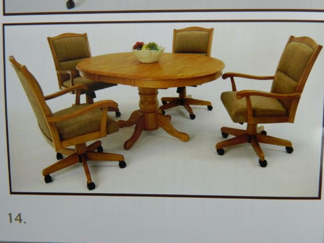 Solid Oak Table Caster Chairs