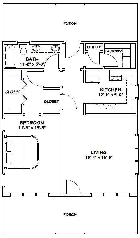 28x32 1 bedroom house 895 sqft pdf floorplan augusta for 28x32 floor plan