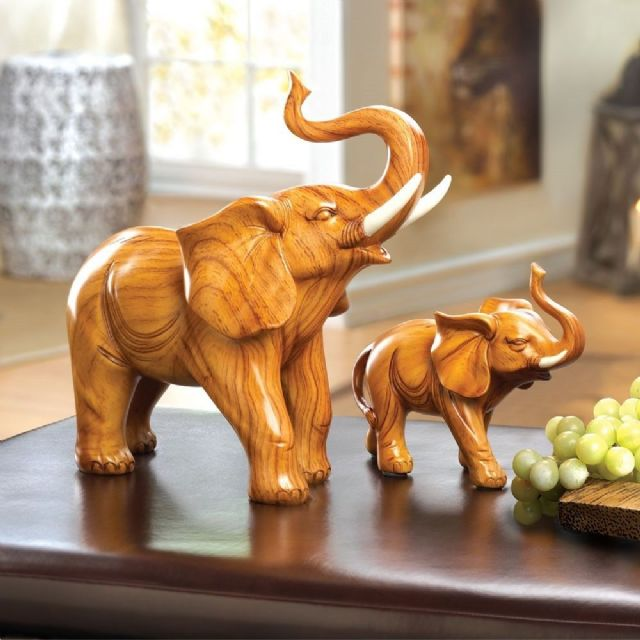 LARGE & SMALL ELEPHANT FIGURINE, STATUE