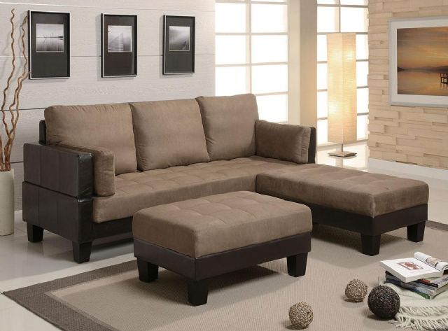 Olympic Games Tan Microfiber Brown Vinyl Sofa Bed