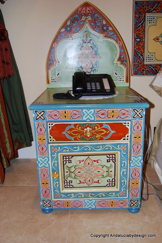 Moroccan hand carvedand painted furniture columbus ohio for Moroccan hand painted furniture