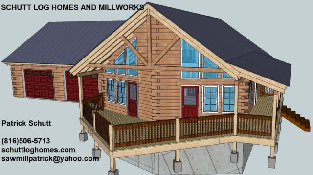 Solid oak log home kit schutt log homes panama city for Chalet cabin kits
